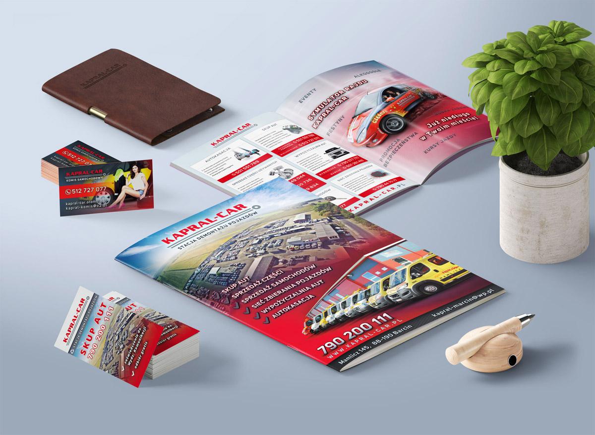 Materiały graficzne, teczka, wizytówki dla firmy Kapral-Car