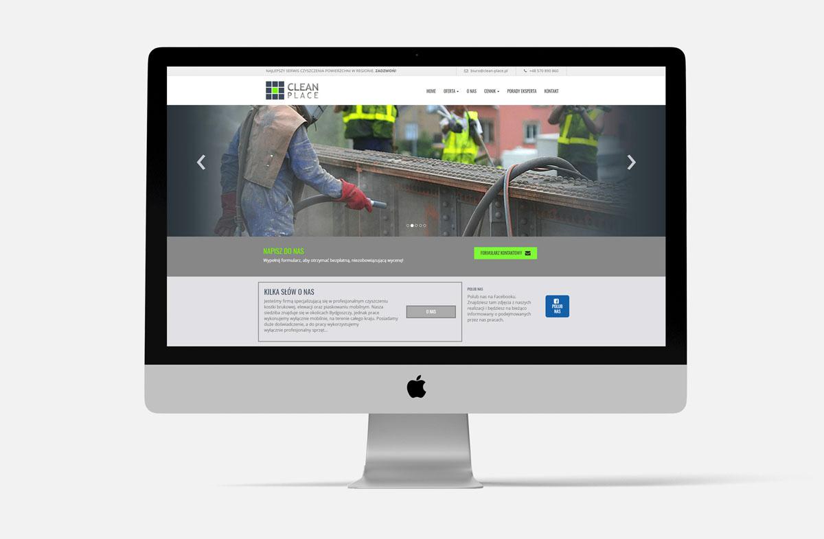 Strona internetowa dla firmy Clean-Place w widoku na iMac