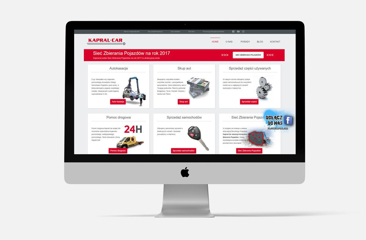 Strona internetowa dla firmy Kapral-Car w widoku na iMac