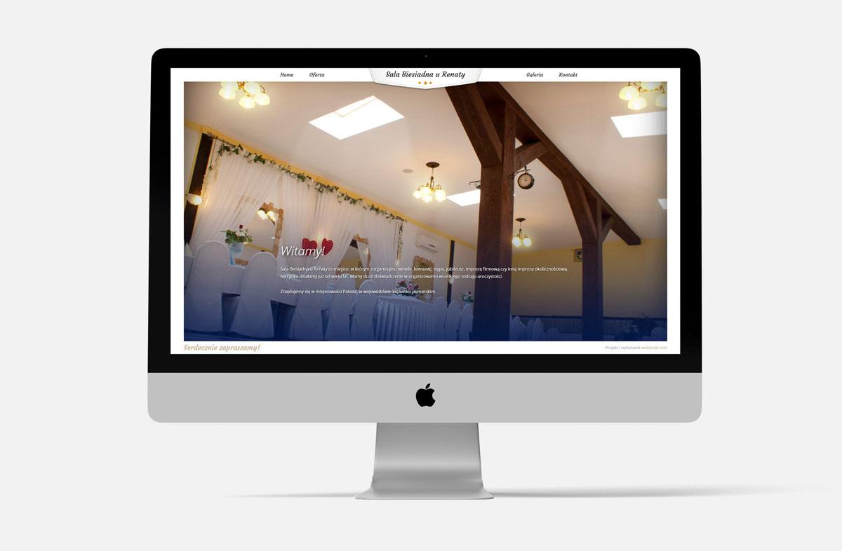 """Strona internetowa dla firmy """"Sala u Renaty"""" w widoku na iMac"""