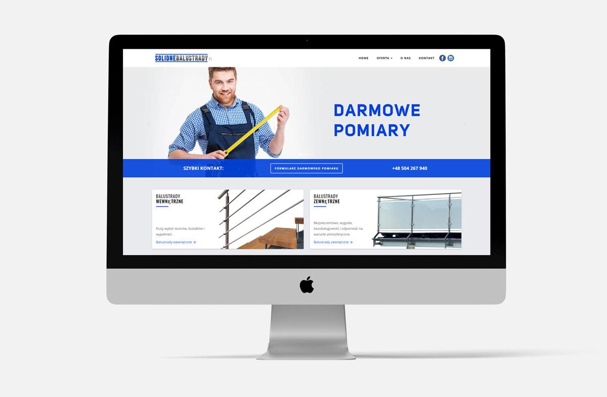 Strona internetowa dla firmy SolidneBalustrady.pl w widoku na iMac