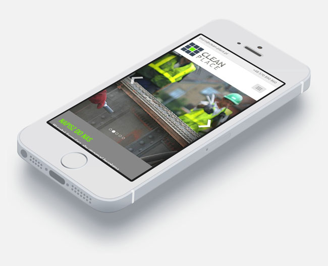 Strona internetowa dla Clean-Place w wersji mobilnej na telefonie iPhone