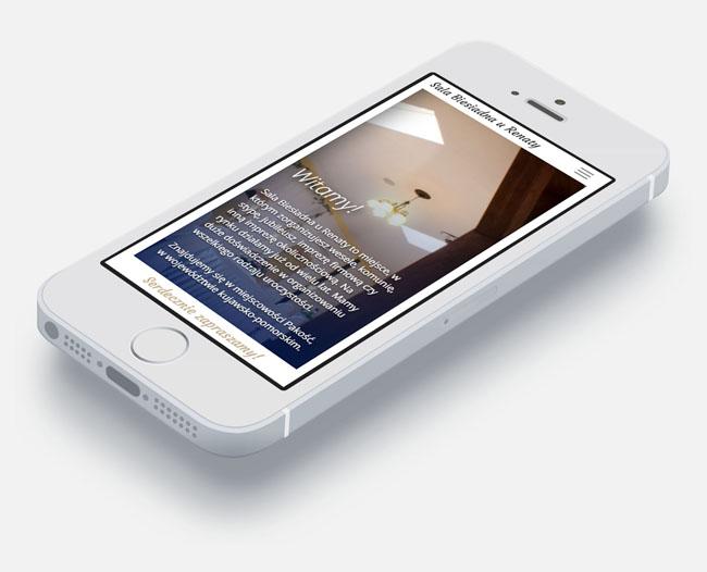 """Strona internetowa dla """"Sali Biesiadnej u Renaty"""" w wersji mobilnej na telefonie iPhone"""