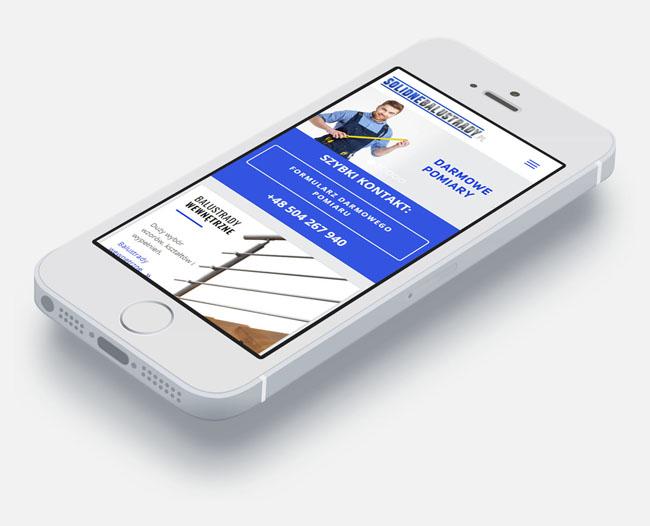 Strona internetowa SolidneBalustrady.pl w wersji mobilnej na telefonie iPhone