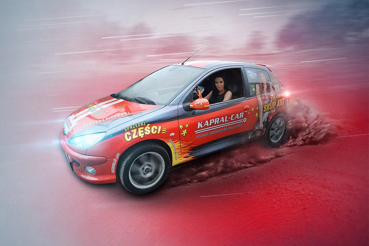 Projekt oklejenia Peugeota 206 dla firmy Kapral-Car